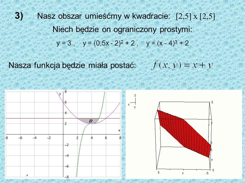 3) Nasz obszar umieśćmy w kwadracie: [2,5] x [2,5]